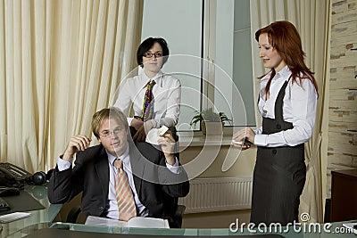 Secretarys console crying boss