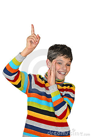 Free Secretive Teenager Pointing Up And Smiling Stock Photo - 9505420