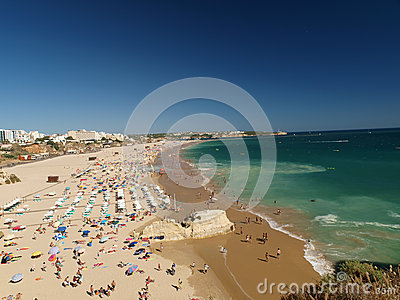 The idyllic Praia de Rocha beach on the Algarve region.