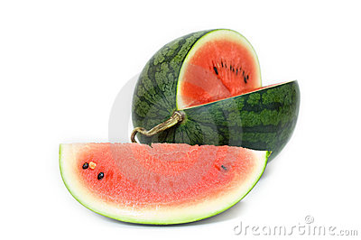 Section of Ripe Sliced Green Watermelon.