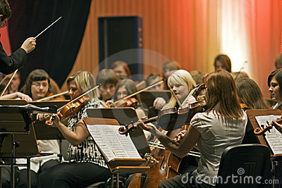 Section strings symphonic orchestra Editorial Image