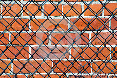 Security- brick wall and fence