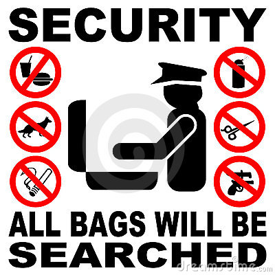 Security bag search sign
