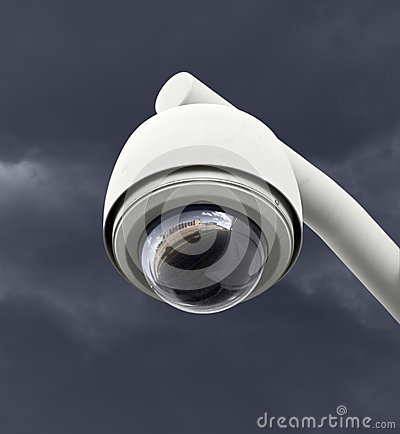 Security Camera with Dark Thunderstorm Sky
