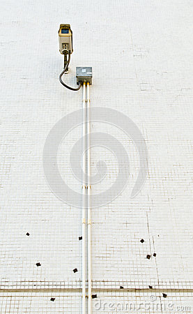 CCTV on tile wall
