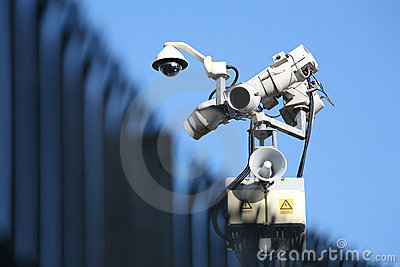 Security Camera, Light & Fence