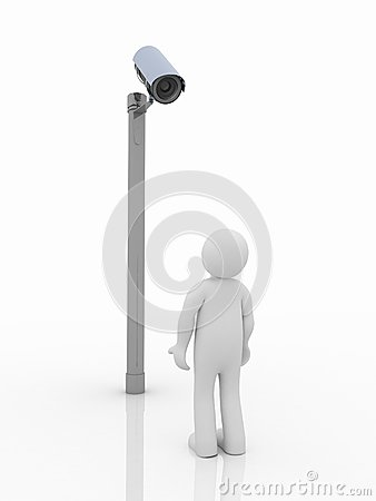 Security camera and man on white background