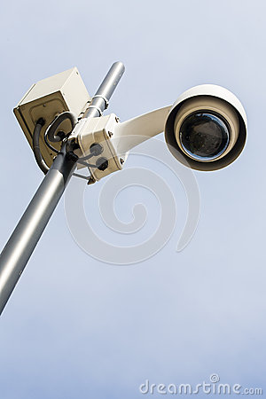 Security camera on a pole set to the observations.