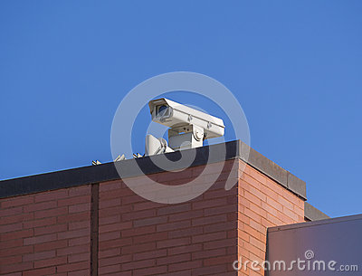 Security camera on roof