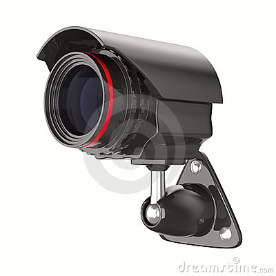 Security camera on white background. Isolated 3D