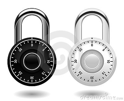 Security Combination Pad Lock Vector