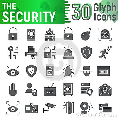 Free Security Glyph Icon Set, Protection Symbols Collection, Vector Sketches, Logo Illustrations, Defense Signs Stock Image - 128410551