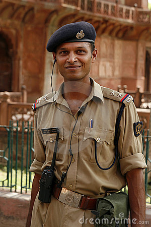 Security guard. Akbar s Tomb, Sikandra, India Editorial Photo