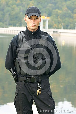 Free Security Guard In Uniform And Armed Royalty Free Stock Images - 91349219
