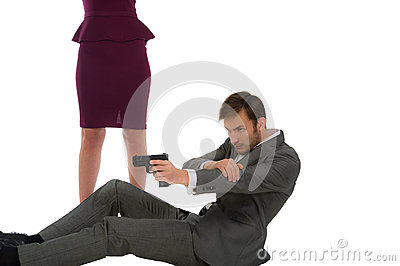 Bodyguard protects the woman