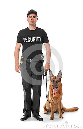 Free Security Guard With Dog Stock Images - 107715424