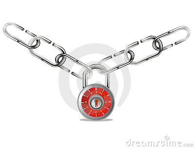 Security padlock with chain