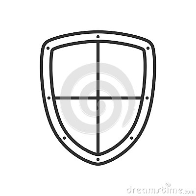 Security Shield Outline Flat Icon on White Vector Illustration