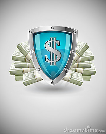 Security shield protecting money business concept