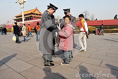 Security in Tiananmen square in Beijing China Editorial Stock Image