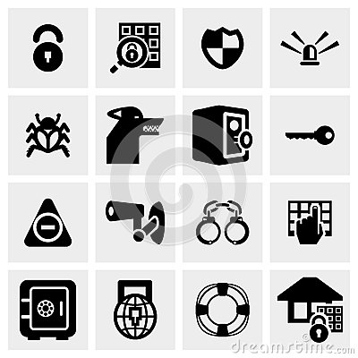 Security vector icon set on gray