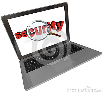 Security Word Magnifying Glass Laptop Computer Screen