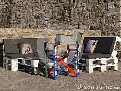 Parete Di Legno Riciclata Dei Pallet Fotografia Stock - Immagine ...