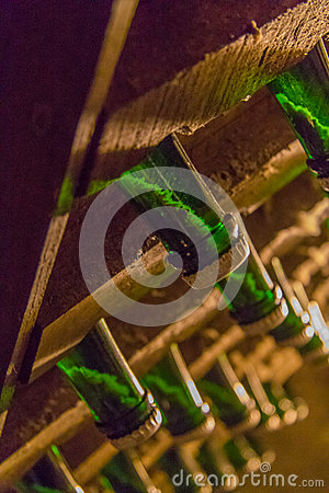 Free Sediment In Champagne Bottle Stock Photography - 53203632