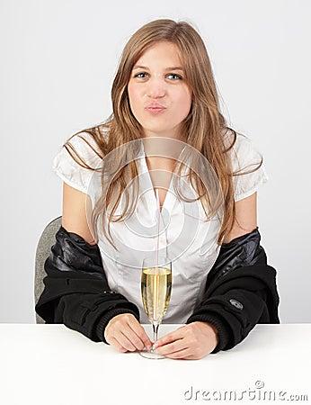 Seductive girl w champaign