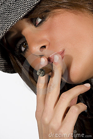 Seductive model woman lady smoking cigar