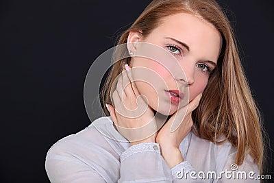 Seductive red head woman