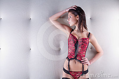 Seductive woman in a corset and stockings