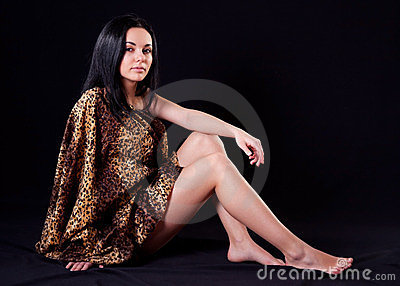 Seductive woman in fur cloth
