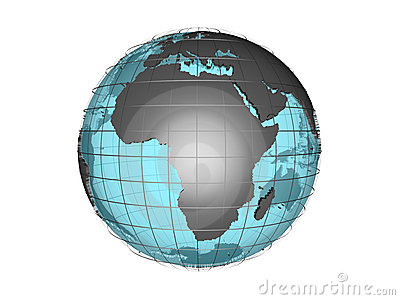See-through 3d globe model showing Africa