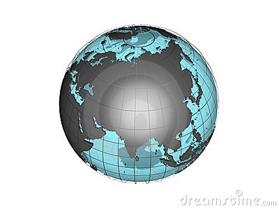 See-through 3d globe model showing Asia