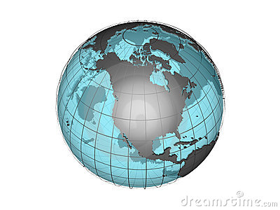 See-through 3d globe model showing North America