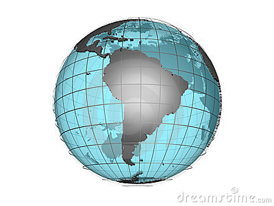 See-through 3d globe model showing South America