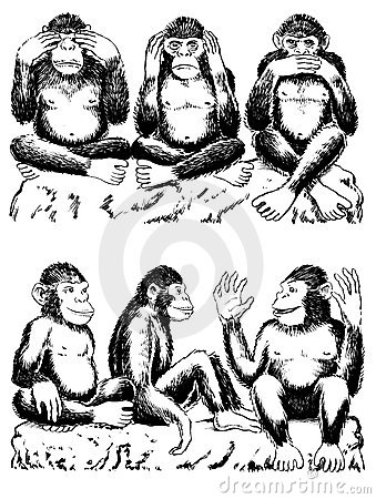 See, hear, speak no evil with variation