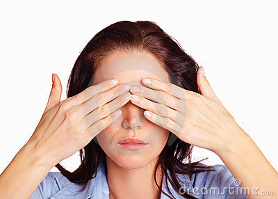 Royalty Free Stock Images: See no evil - woman covering eyes with her ...