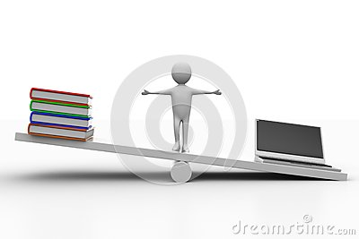 See saw  with books and laptop