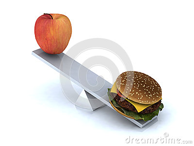 Seesaw with apple and hamburger
