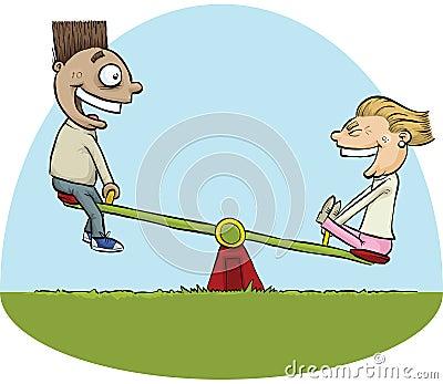 Seesaw Kids Stock Illustration Image 41885454