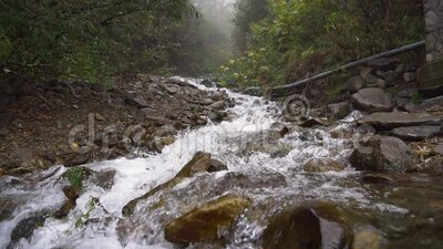 Seething clean clear mountain river waterfall flowing slow motion stock video footage