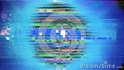 Segnale analogico Glitchy con distorsione stock footage