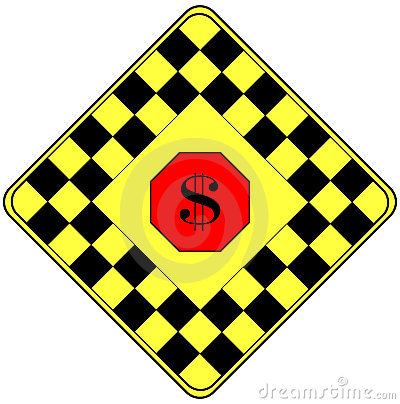 Segno del dollaro su un segnale di pericolo di traffico