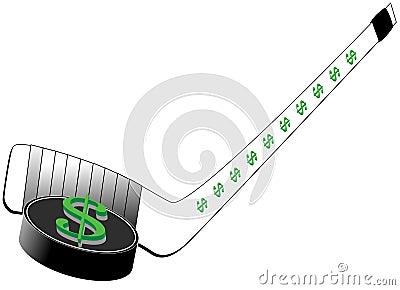 Segno del dollaro sul disco di gomma e sul bastone di hokey