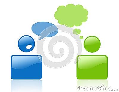 Segno della gente di conversazione e di pensiero