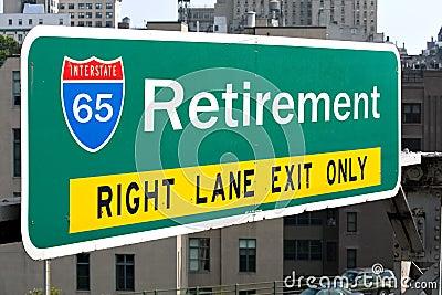 Segno della strada principale di pensione
