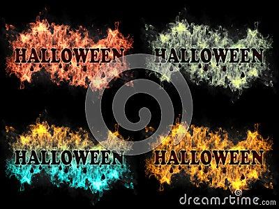 Segno di Halloween su fuoco