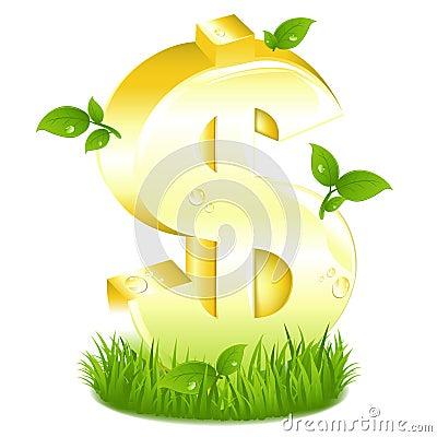 Segno dorato del dollaro con verde